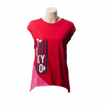 BENCH- YTF1824RE4 Ladies Graphic Tee with Long Back (Red)