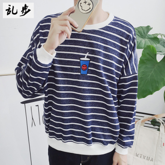 BfHan version embroidered wind round neck long-sleeved t-shirt men's hoodie (319 striped tea hoodie blue) (319 striped tea hoodie blue)