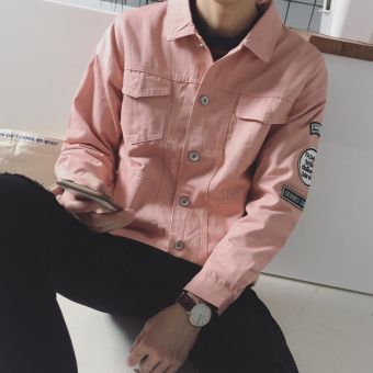 BfHan version of men autumn New style denim jacket (Lotus color)