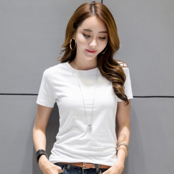 Bi Qi Korean-style female short-sleeved New style slim fit bottoming shirt T-shirt (White)