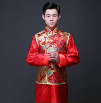 BIGCAT men Wedding dress Chinese traditional style dress Tang suit - intl