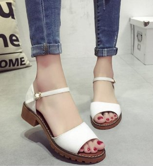 BIGCAT sandals new Korean style high-heeled sandals Roman shoes-white - intl