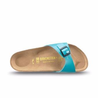 Birkenstock Women Madrid Birko-Flor Lack Flat Slippers (Mint Blue) - 2