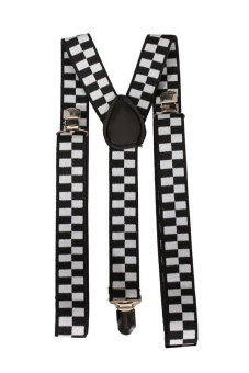 Black and White Checkered Clip-on Braces Elastic Y-back Suspender