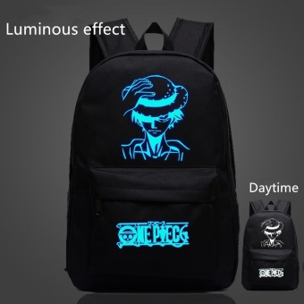 Black Anime One Piece Bags for Teenagers Luffy School Bags Children Luminous Backpack Men Women Shoulder Bags Gifts - intl
