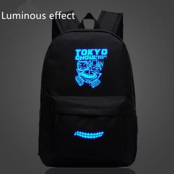 Black Anime Tokyo Ghoul Bags for Teenagers Luffy School BagsChildren SAO Luminous Backpack Boys Girls Sport Shoulder Bags -intl