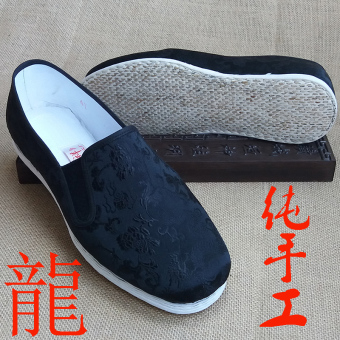 Black Dragon Old Beijing pure handmade kung fu shoes Melaleuca at the end (Black Dragon round mouth Adhesive Film)