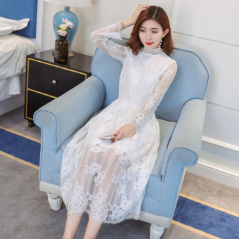 Black female autumn dress New style long paragraph skirt dress (White)