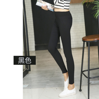 Black high-waisted slim fit pencil pants leggings (Black)