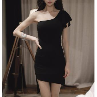 Black One Single Shoulder Dress with Side Shoulder Ruffles Irregular Hem Party Dress Price Philippines