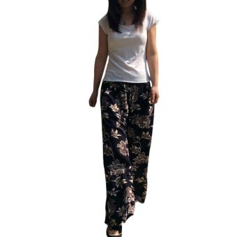 [BLACK] Retro Style Elastic Waist Printed Wide Leg Pants for Women- intl