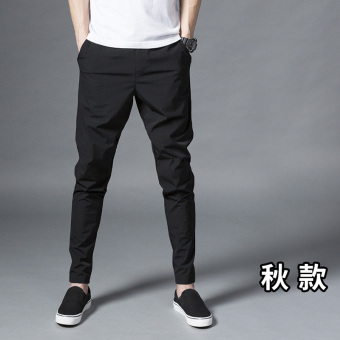 Black Slim fit models leg pants men pants autumn casual pants (Black Autumn)