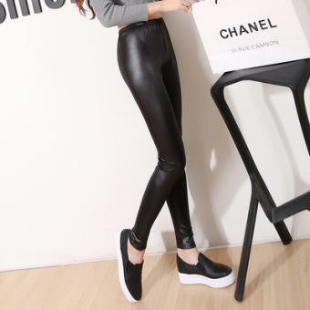 Black Spring and Autumn outerwear thin ankle-length pants leather pants (Black)