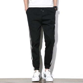 Black Spring New style men's sports pants men pants (Black)