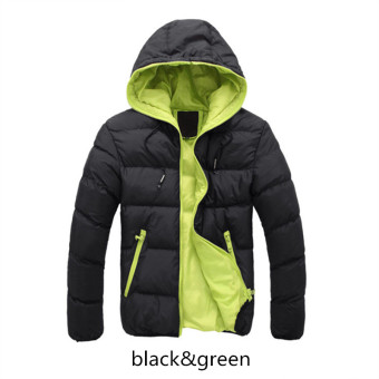 Black&Green Splice 2017 NEW Arrived Autumn Winter Duck DownJacket Hooded Winter Jacket for Men Fashion Mens Joint OuterwearCoat Plus Size - intl