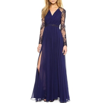 Blackhorse Sexy Lace Chiffon Evening Formal Party Cocktail LongDress Bridesmaid Prom Gown (Color:c0) - intl