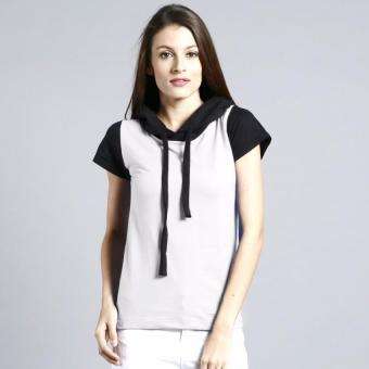 BLKSHP Black Contrast Tee with Hood for Ladies (White)