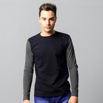 BLKSHP Black Long Sleeves with Contrast Color Sleeves (Charcoal)