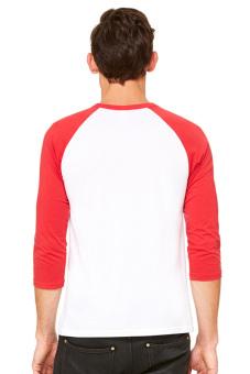 BLKSHP Contrast 3/4 Sleeve Baseball Tee (White/Red) - 2