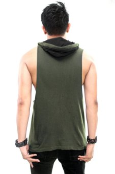 BLKSHP Dark Style Dropped Armholes with Contrast Hood (Army/Black) - 2