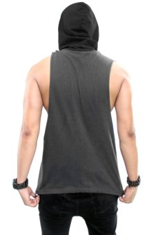 BLKSHP Dark Style Dropped Armholes with Contrast Hood(Charcoal/Black) - 3