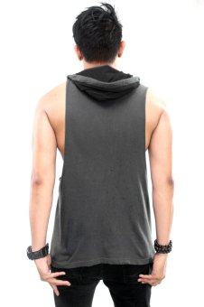 BLKSHP Dark Style Dropped Armholes with Contrast Hood(Charcoal/Black) - 2