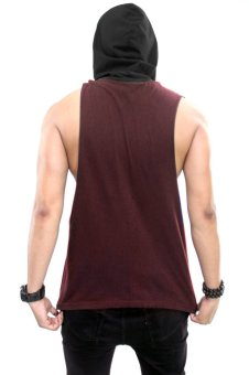 BLKSHP Dark Style Dropped Armholes with Contrast Hood(Maroon/Black) - 3