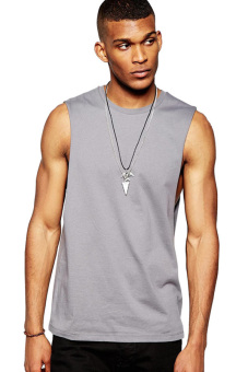 BLKSHP Dropped Armholes Sleeveless T-Shirt (Charcoal)