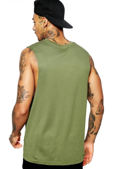 BLKSHP Dropped Armholes Sleeveless T-Shirt (Military Green) - 2
