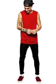 BLKSHP Dropped Armholes Sleeveless T-Shirt (Red) - 4