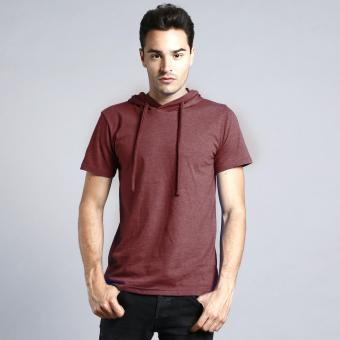 BLKSHP Hooded T-shirt in Heather Fabric (Maroon)