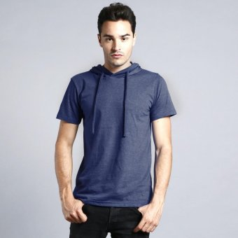 BLKSHP Hooded T-shirt in Heather Fabric (Navy Blue)