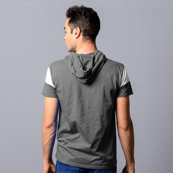 BLKSHP Hooded T-Shirt with White Contrast Sleeves (Charcoal) - 3