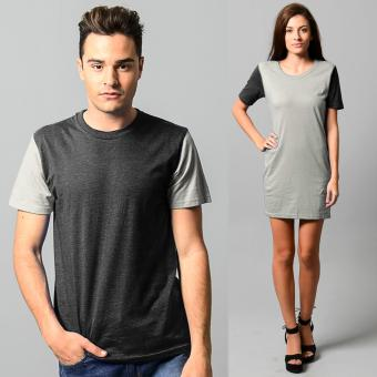 BLKSHP Modern Contrast Couple Tee in Heather Fabric set of 2(Charcoal)