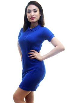 BLKSHP Polo Shirt Dress in Solid Royal Blue - 2 ...