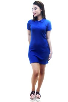 ... BLKSHP Polo Shirt Dress in Solid Royal Blue - 4 ...