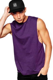 BLKSHP Sleeveless T-Shirt With Dropped Armholes (Purple)