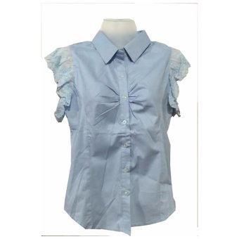 blouse cotton with ruffles (sky blue) small