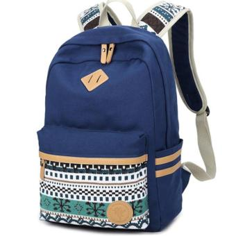 Blue Ethnic Women Backpack for School Teenagers Girls Vintage Stylish School Bag Ladies Canvas Backpack Female Back Pack - intl