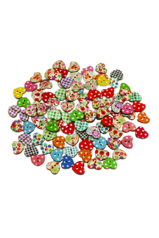 Blue lans Heart Shaped Sewing Buttons Set of 100 (Multicolor)