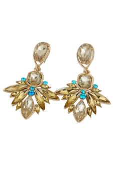 Blue lans Resin Bib Statement Stud Dangle Earrings (Gold) - picture 2
