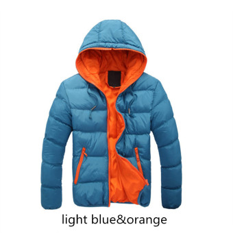 Blue&Orange Splice 2017 NEW Arrived Autumn Winter Duck Down Jacket Hooded Winter Jacket for Men Fashion Mens Joint Outerwear Coat Plus Size - intl