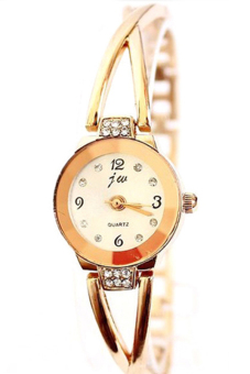 Bluelans Alloy Rhinestone Bracelet Wrist Watch (Rose Gold)