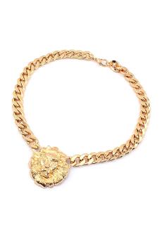 Bluelans Lion Head Necklace (Gold)
