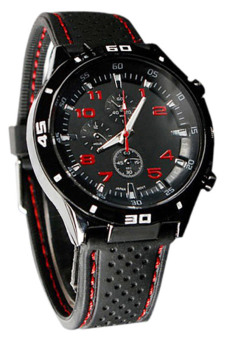 Bluelans Red Number Racer Military Pilot Silicone Sport Wrist Watch