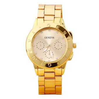 Bluelans Rhinestone Dial Alloy Analog Quartz Wrist Watch (Golden)