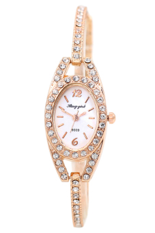 Bluelans Rhinestone Gold Stainless Steel Wristwatch