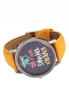 Bluelans Unisex Every Thing Will Be Ok Yellow Denim Quartz Watch - picture 2