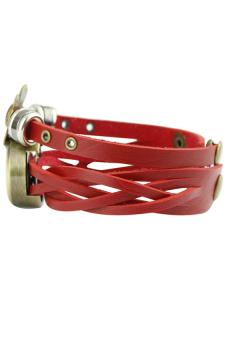 Bluelans Weave Flower Faux Leather Bracelet Quartz Watch (Red) - picture 2