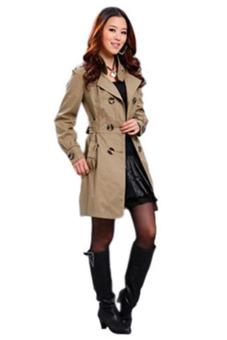 Bluelans(R) Womens Slim Fit Trench Double-breasted Coat Jacket Outwear Khaki Price Philippines